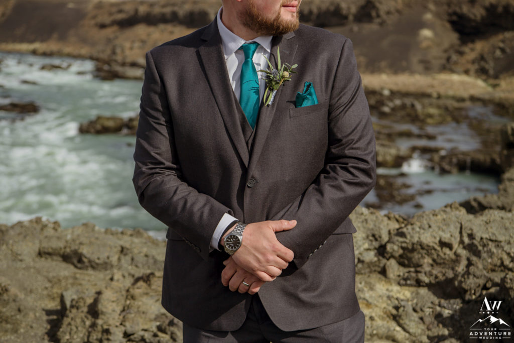 Iceland Wedding Gray Groom Suit with teal accents