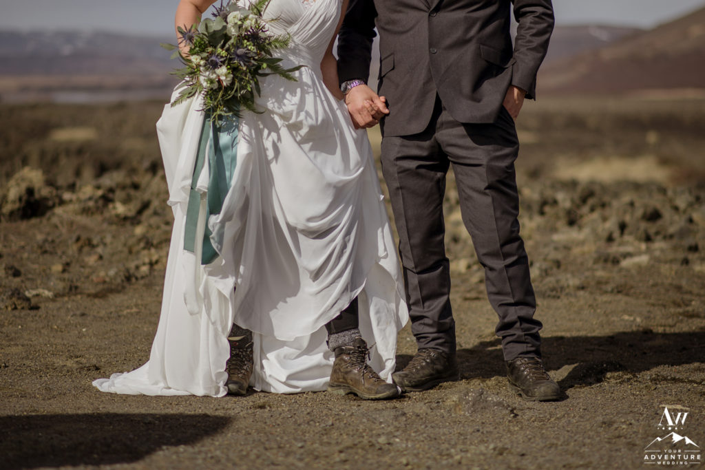 Hiking Boots for adventure wedding in Iceland
