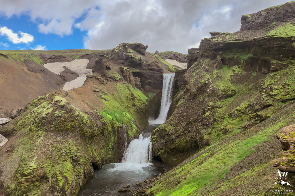 Iceland Wedding Location Fimmvorduhals Hike Waterfall