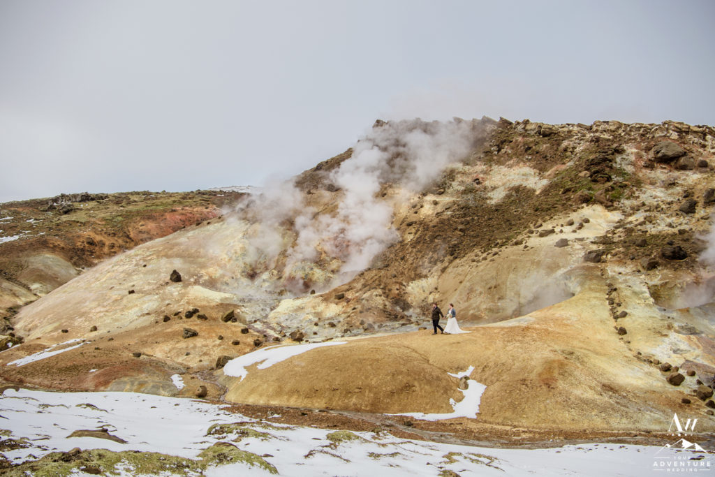 Couple Exploring private geothermal area