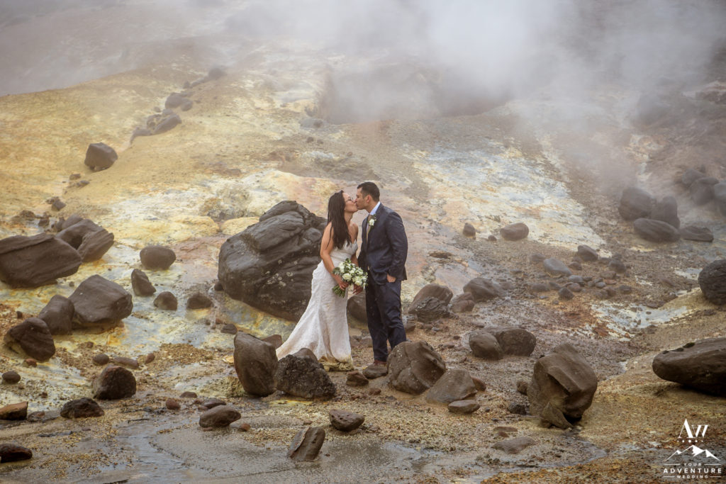 Iceland Wedding Couple Kissing in Geothermal Area