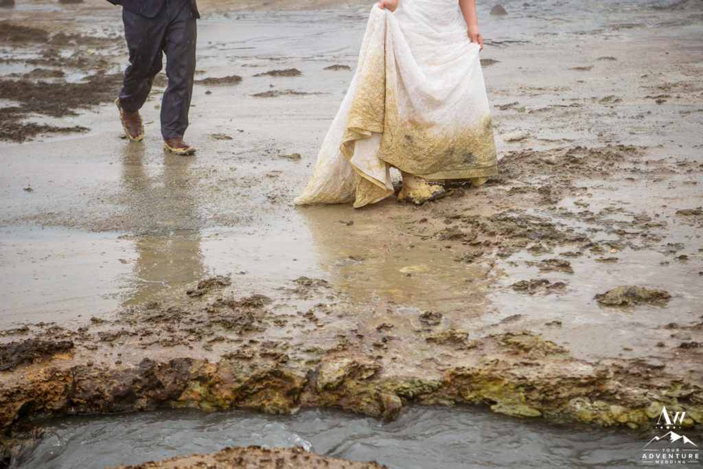 Iceland Adventure Wedding Couple hiking in mud