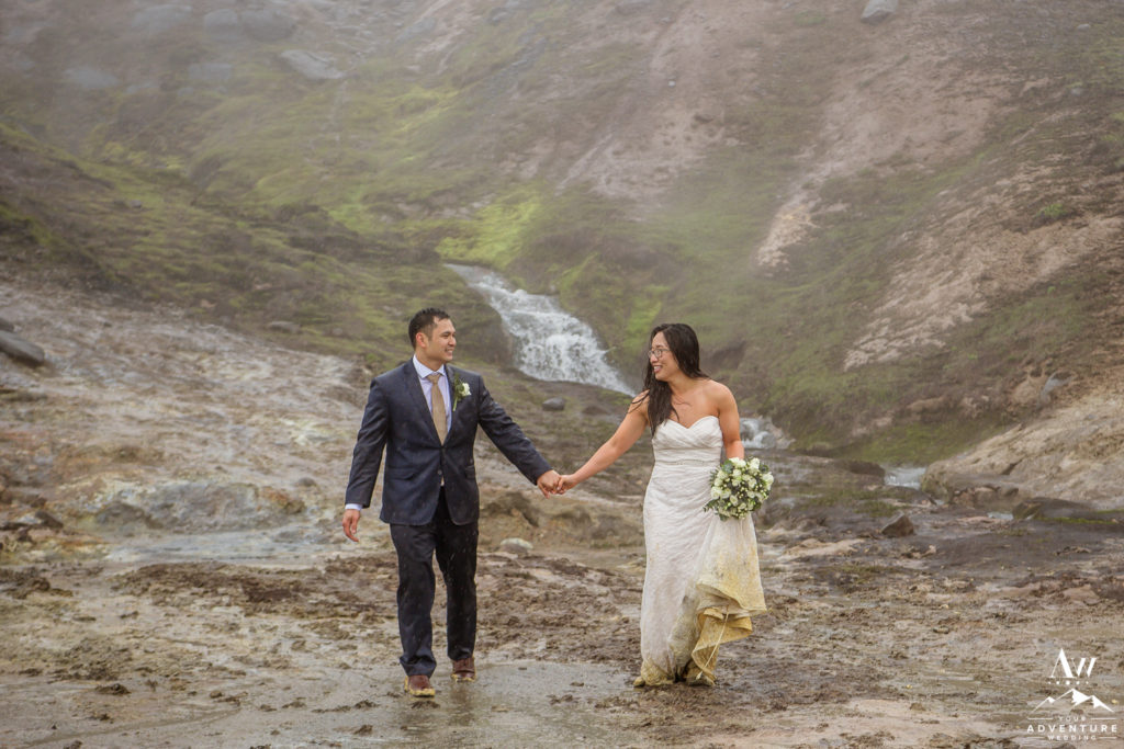 Rainy Iceland Wedding Day Adventure at Geothermal Area