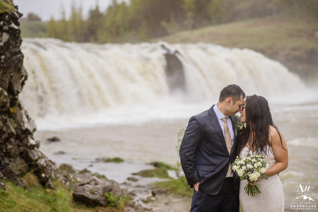 Intimate Iceland Wedding Photos at a Waterfall