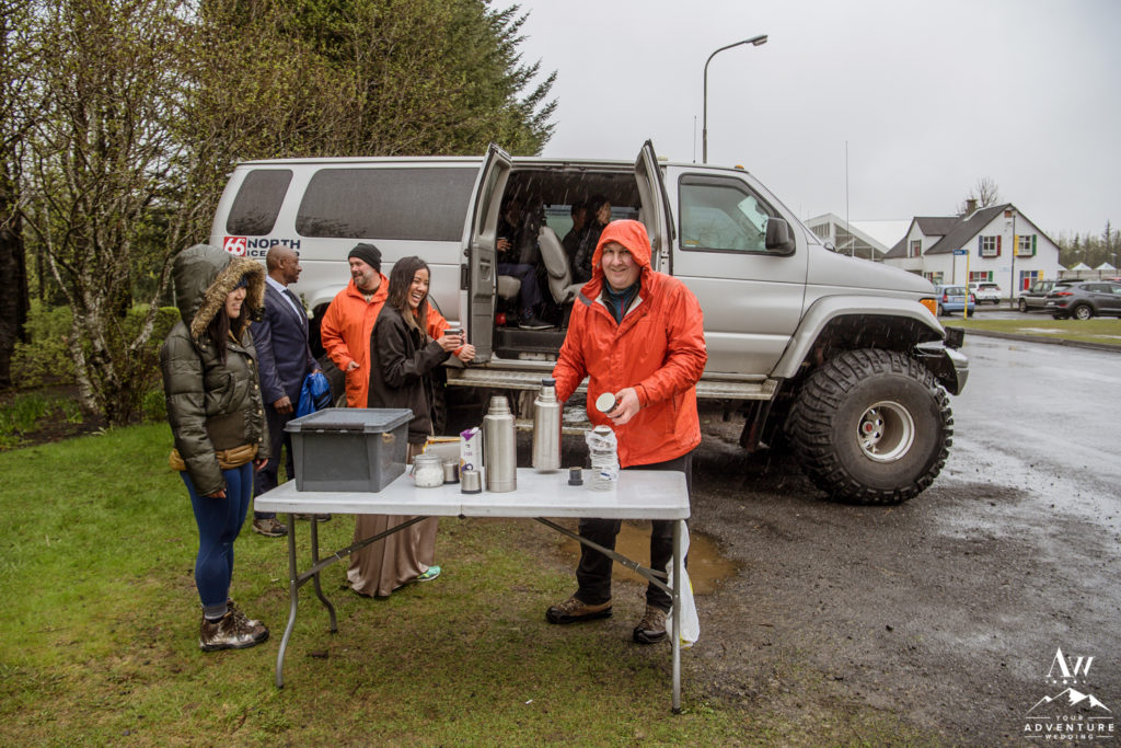 Iceland Wedding Super Jeep Team handing out coffee