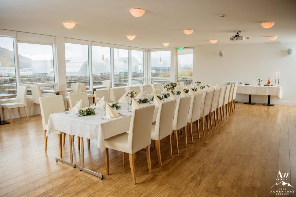 Iceland Wedding Reception Setup at Northern Lights Inn