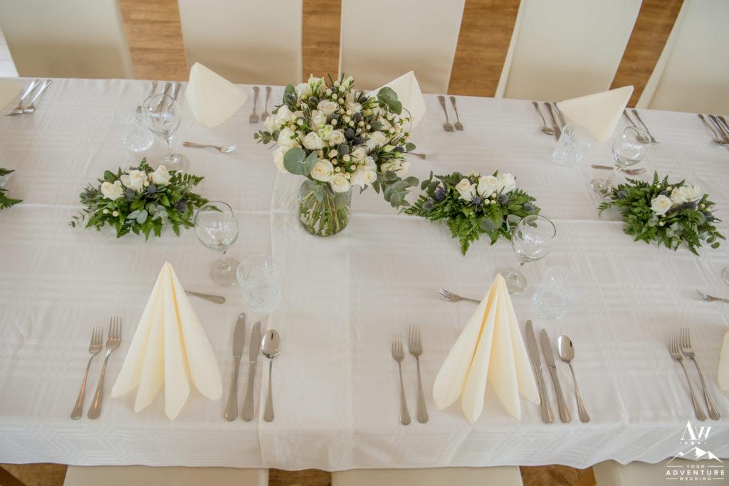 Simple Iceland Wedding Reception Setup at Northern Lights Inn