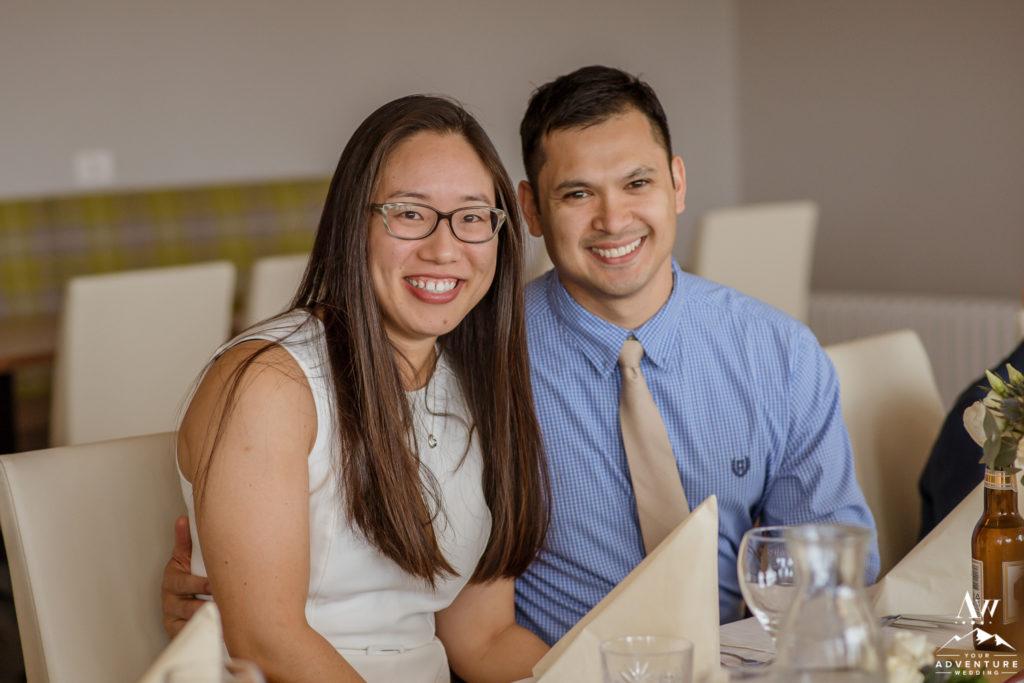Sarah and Matt during Iceland Wedding Reception