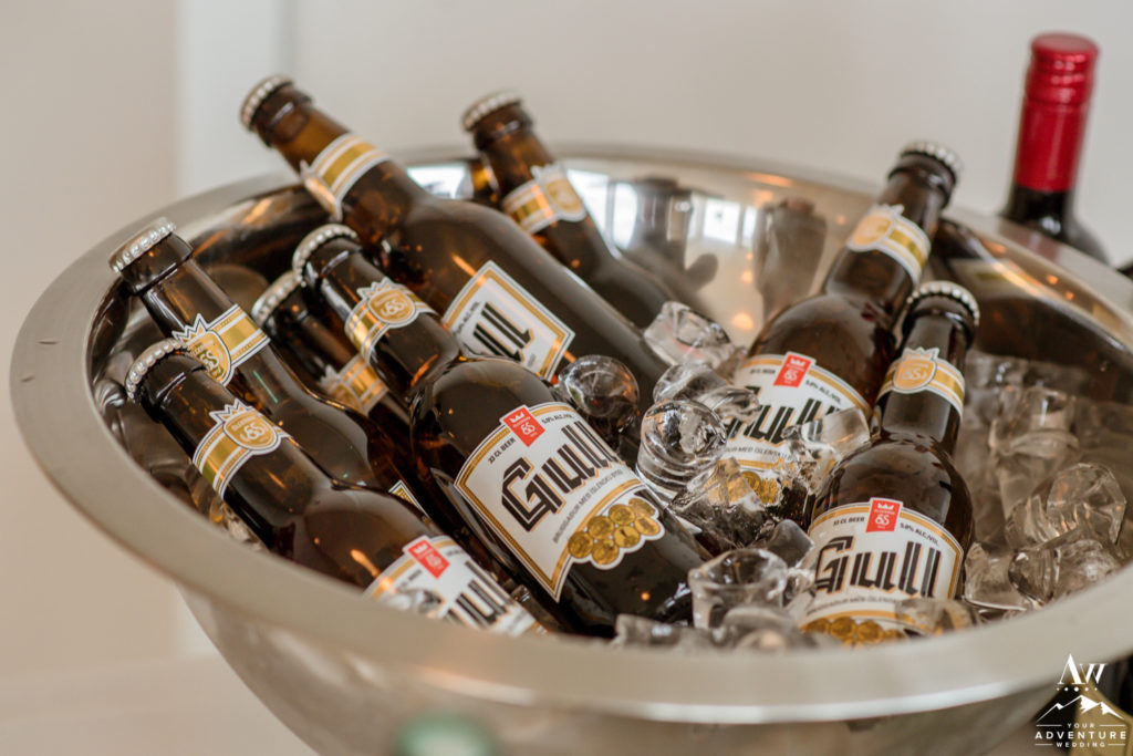 Icelandic Gull Beer at Iceland Wedding Reception