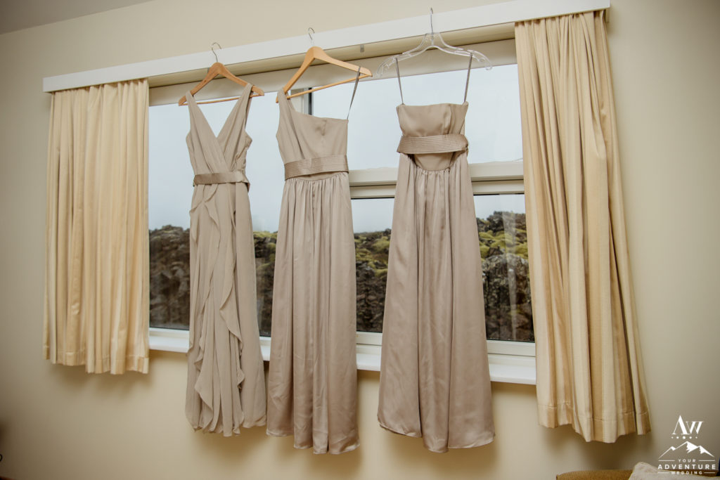 Bridesmaid Dresses hanging at Northern Lights Inn