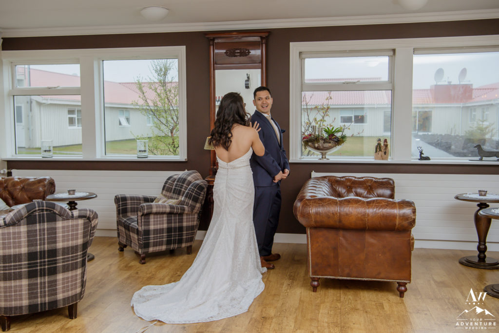Bride and Groom do a first look before Iceland wedding adventure