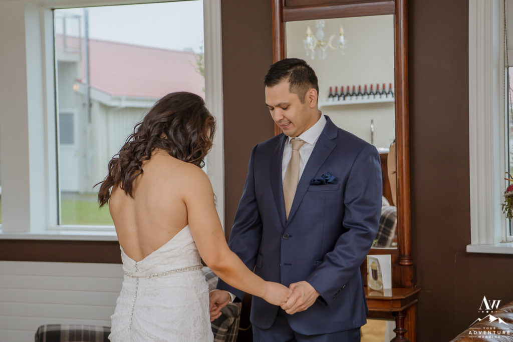 Groom Looking at his bride before Iceland wedding