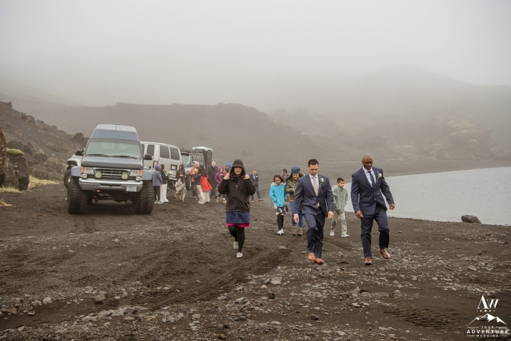 Iceland Wedding Guests arrive to ceremony spot