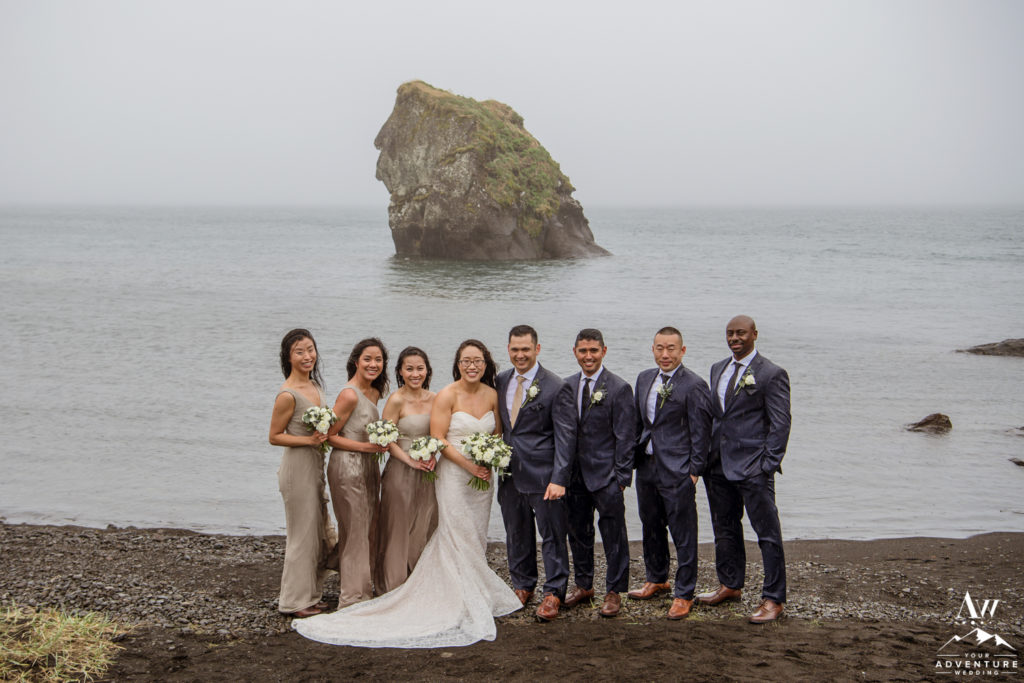 Iceland Wedding Bridal Party Photo at a lake