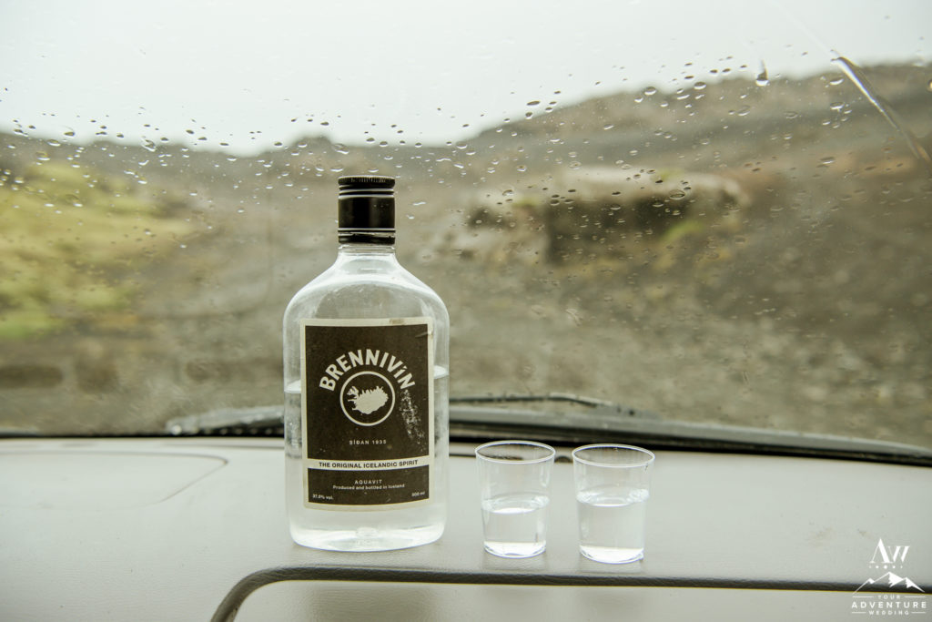 Icelandic Brennivin Shots during Iceland Wedding Day