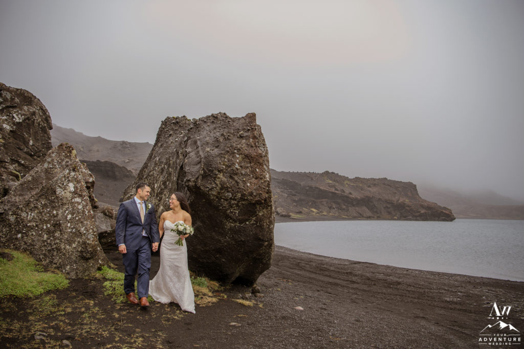 Lakeside wedding ceremony in Iceland