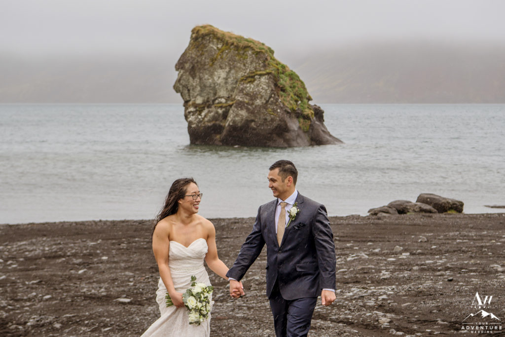 Iceland Wedding Couple during rainy adventure