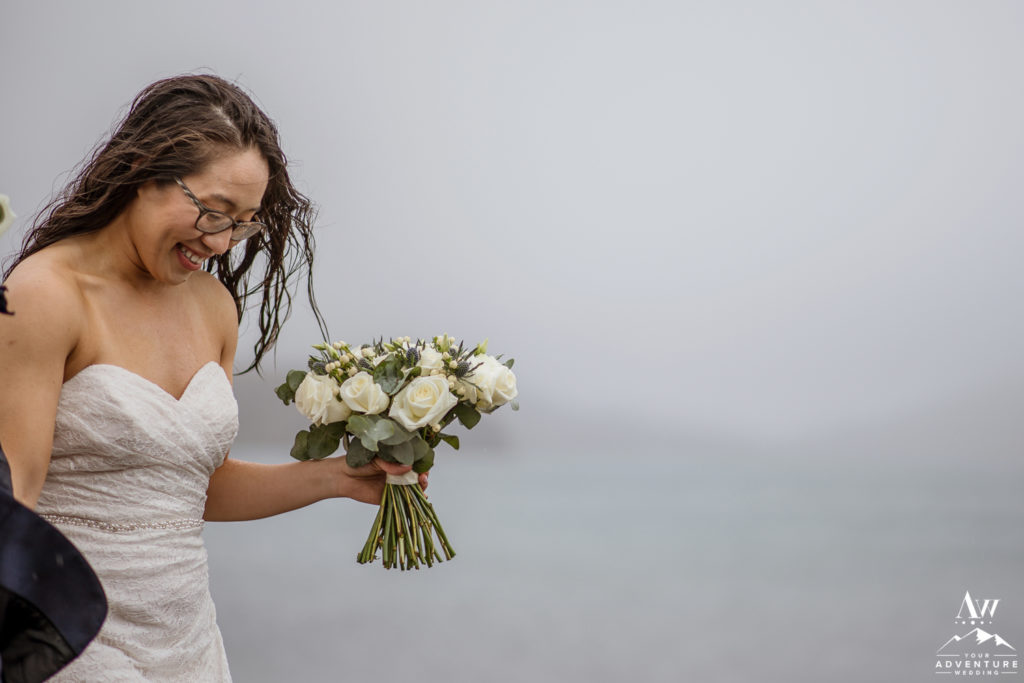 Bride laughing during Iceland wedding day