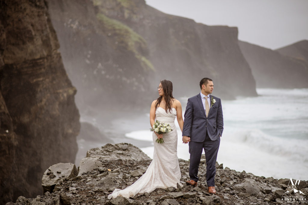 Badass Iceland Wedding Couple on rainy wedding day