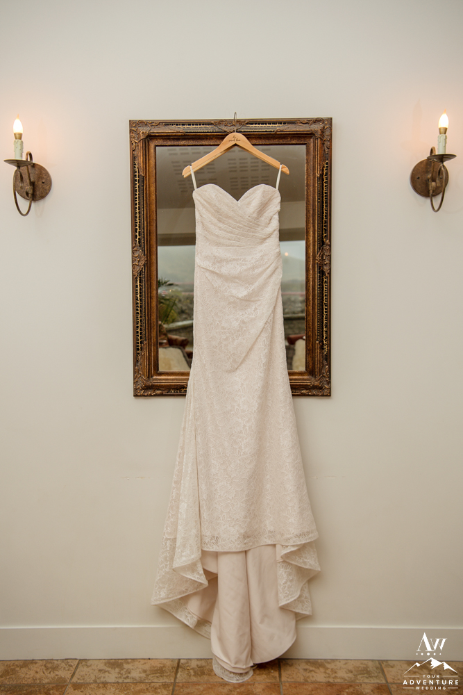 Iceland Wedding Dress hanging at Northern Lights Inn