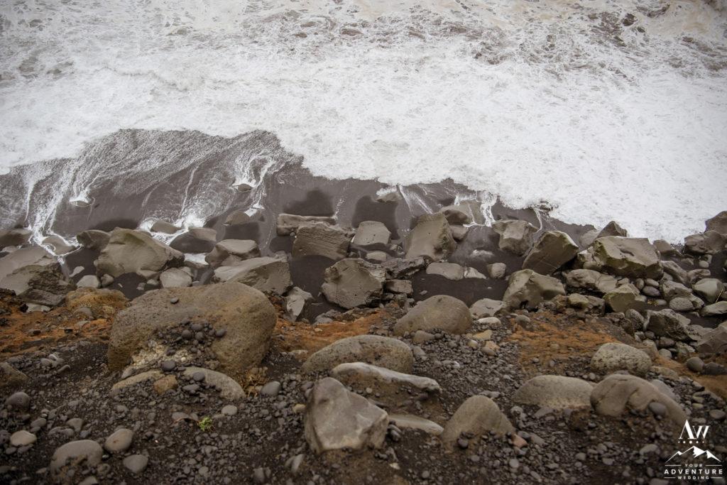 Iceland Black Sand Beach during rainy wedding