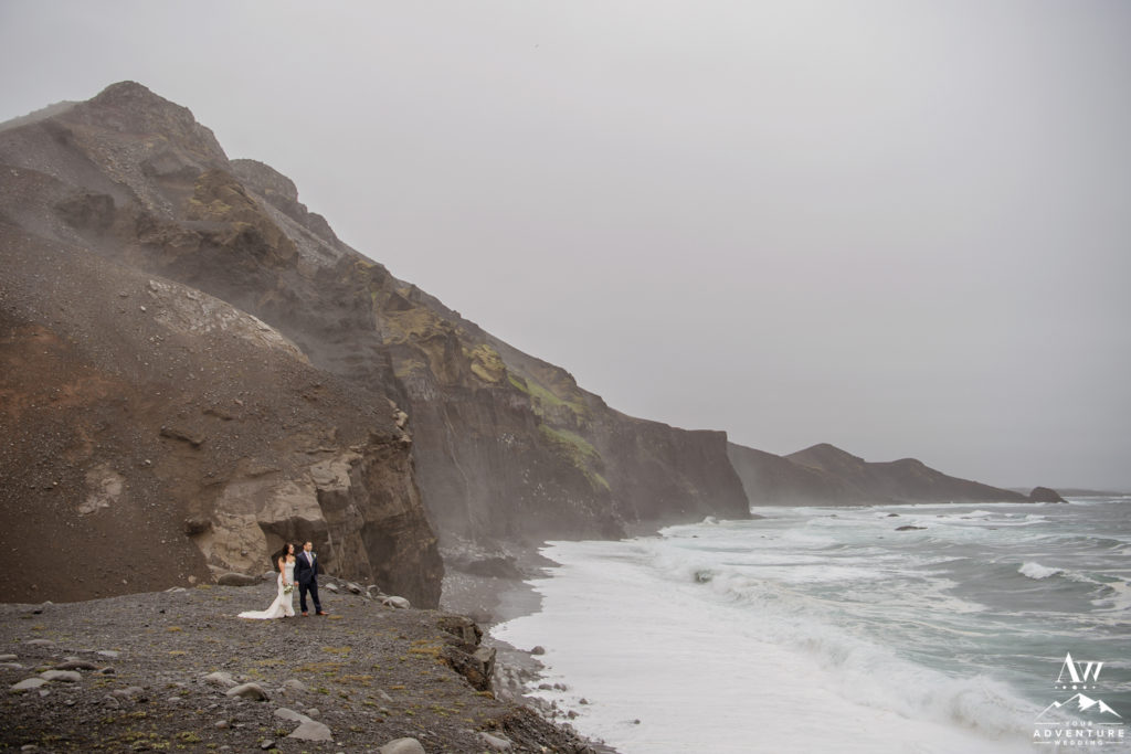 Iceland Wedding Couple Kissing on rainy day