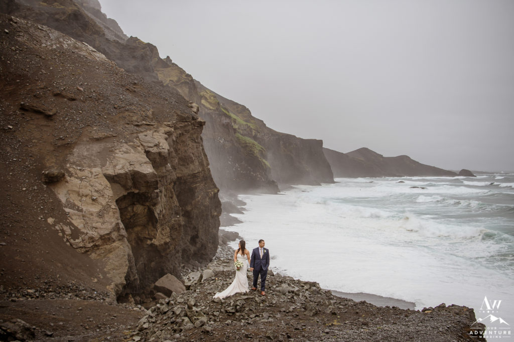 Badass couple during Rainy Iceland Wedding Day