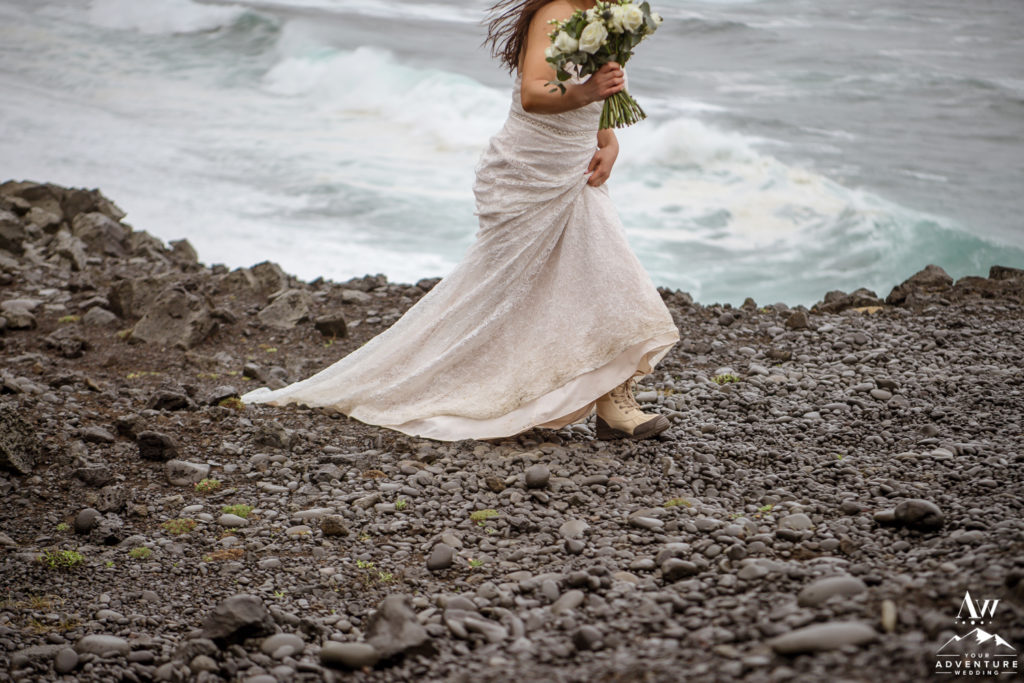 Bride Walking during Iceland Adventure Wedding