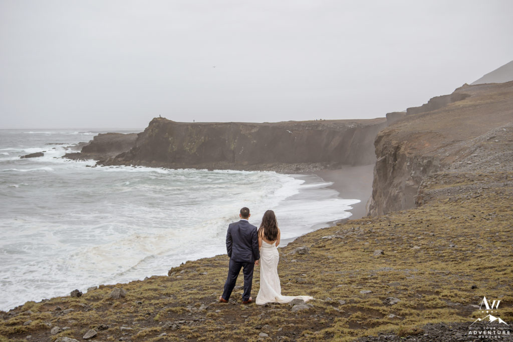 Iceland Wedding Couple looking out to the sea together