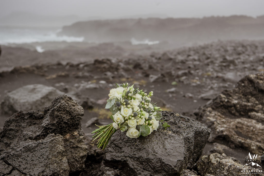 Iceland Wedding Bouquet on black sand beach