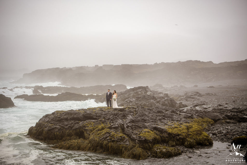 Dramatic Iceland Wedding Photos on lava rock beach