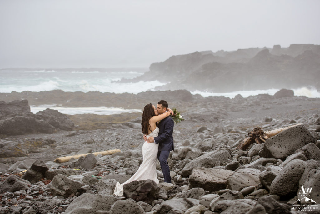 Iceland Wedding Couple kissing on private black sand beach