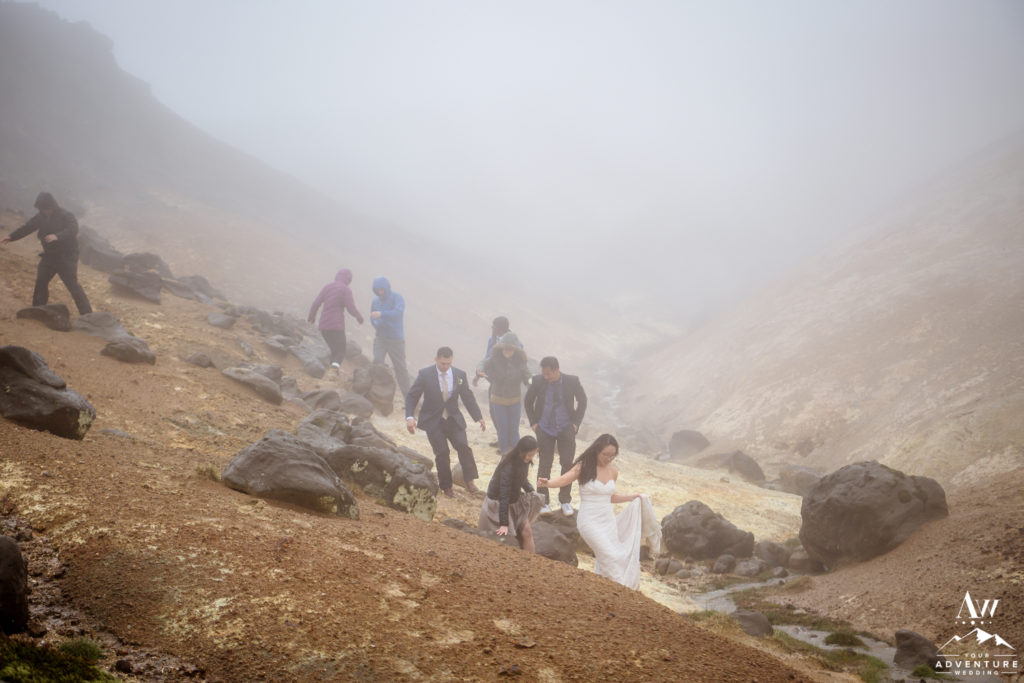 Iceland Wedding guests exploring private geothermal area