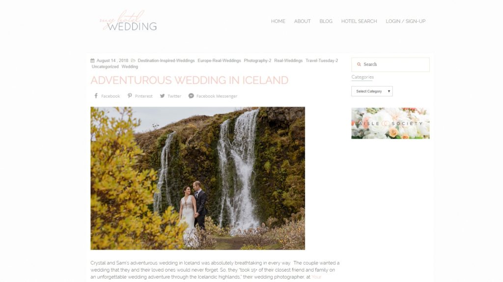 My Hotel Wedding Blog features Crystal and Sam's Iceland Wedding