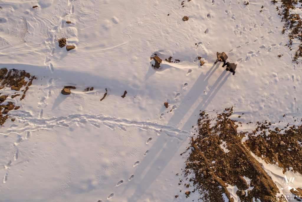 Iceland Engagement Session during Winter Snow Drone Shot