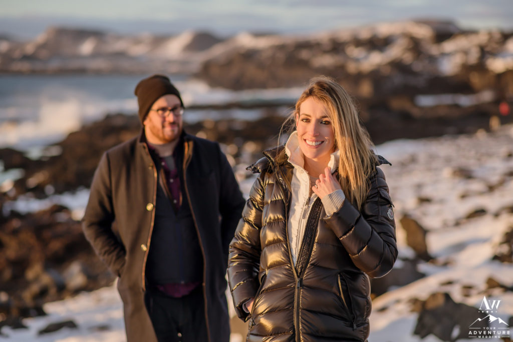 Iceland Engagement Couple on private black sand beach