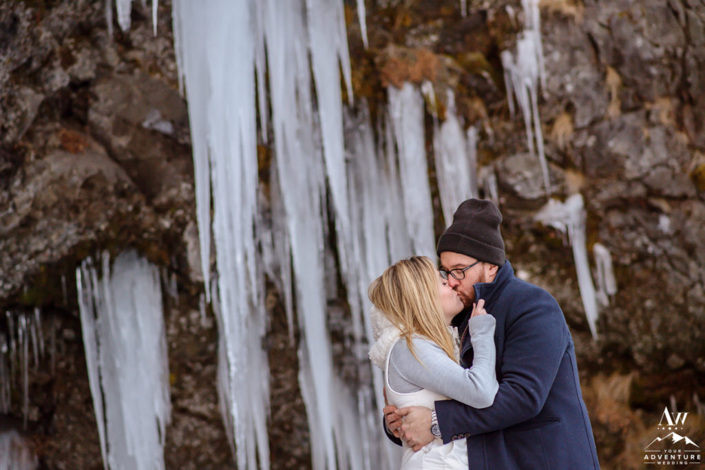 icicles behind iceland engagement session