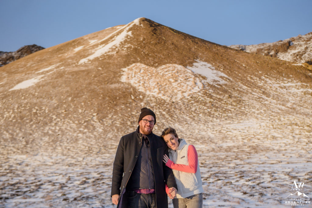 Iceland Engagement Couple with heart mountain behind