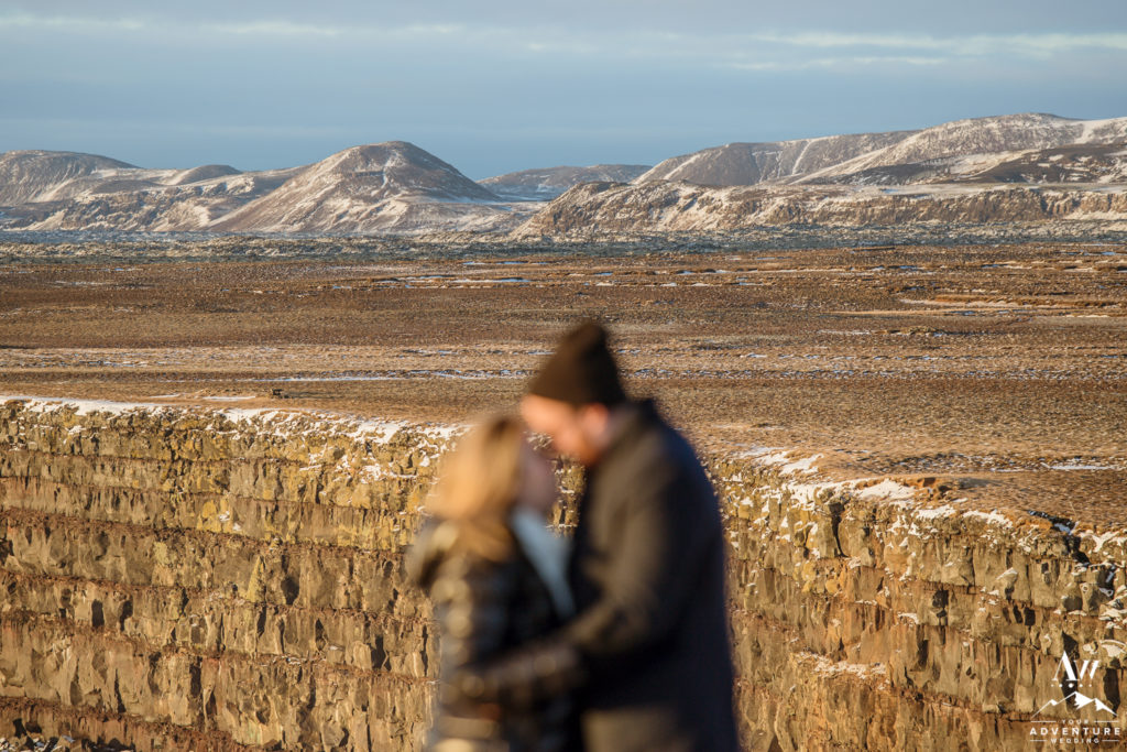 Iceland Winter Engagement Session Photos Mountains