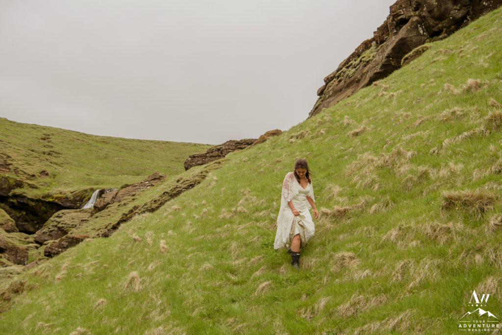 Iceland Elopement Bride Hiking on her wedding day