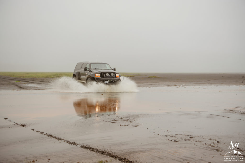 Iceland Super Jeep Wedding Splashing through puddles