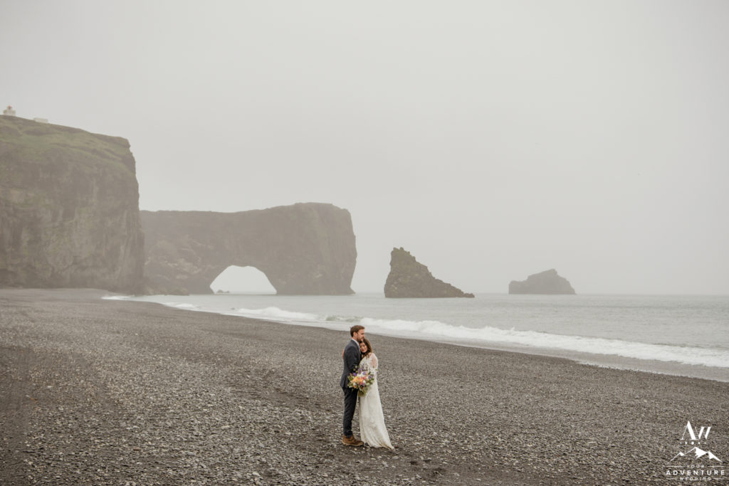 Adventurous Wedding Couple in Iceland at Dyrholaey