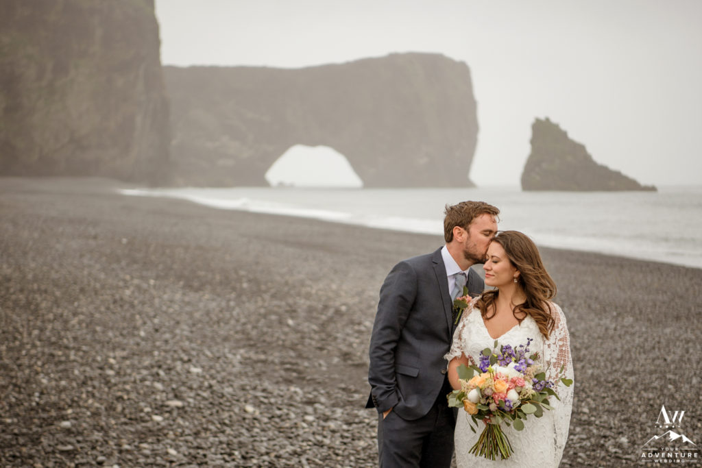 Dyrholaey Sea Arch Wedding Couple Exploring