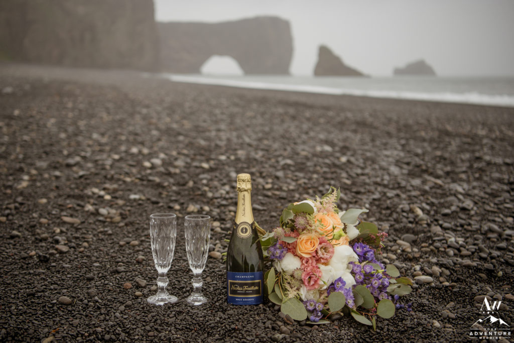 Champagne Picnic in front of Dyrholaey Sea Arch