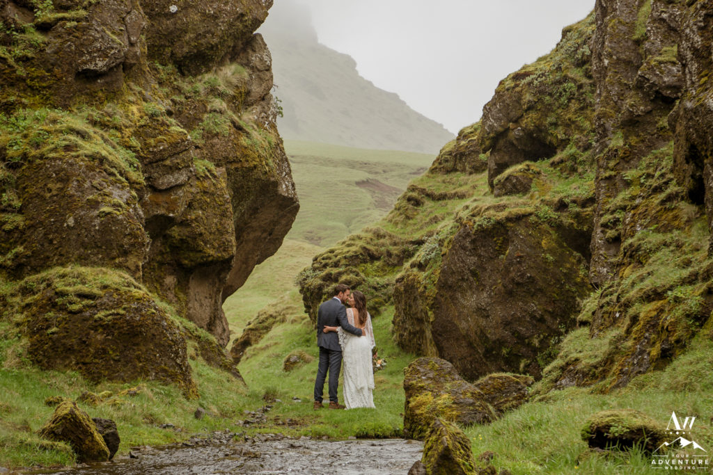 Iceland Wedding Couple Exploring a private canyon