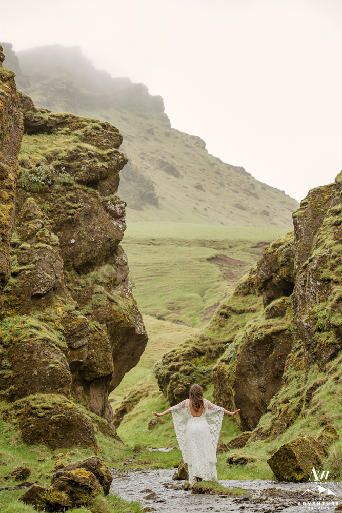 Iceland Wedding Dress on bride in narrow canyon