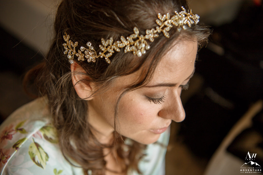 Iceland Elopement Bridal hairstyle and hairpeice