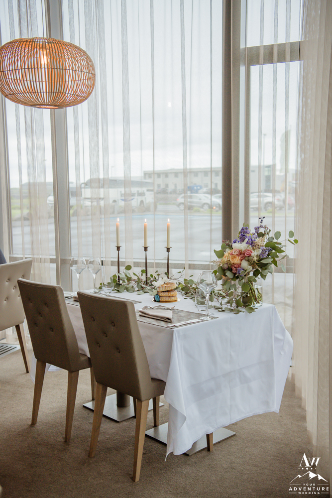 Iceland Wedding Reception Setup for two
