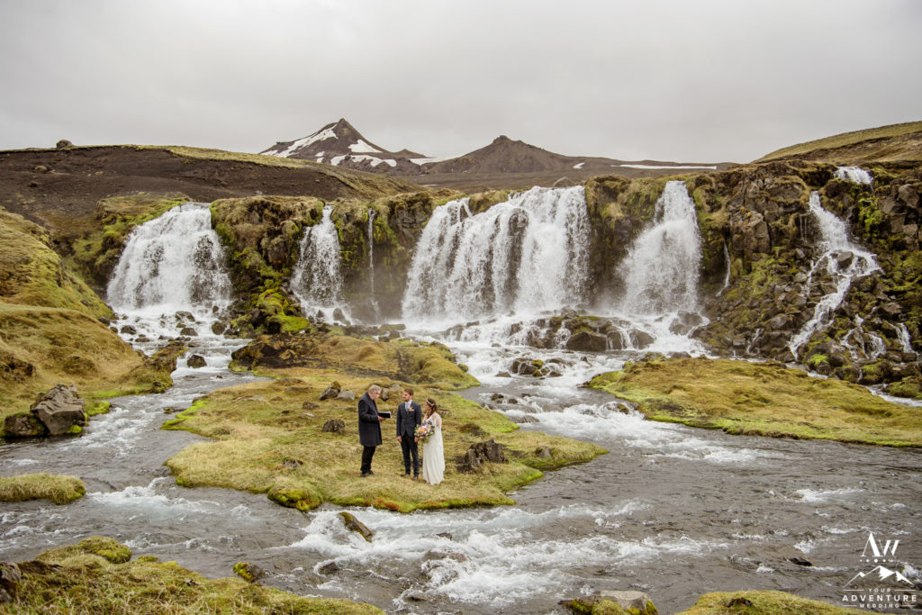 Iceland wedding ceremony at a waterfall