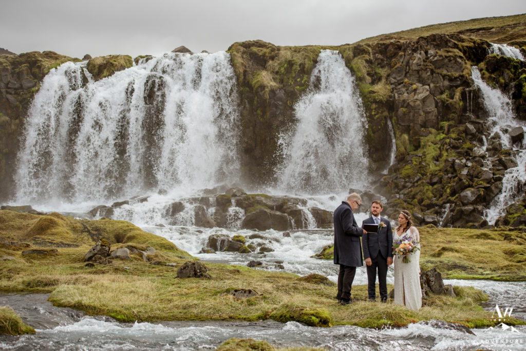 Summer waterfall wedding ceremony in Iceland